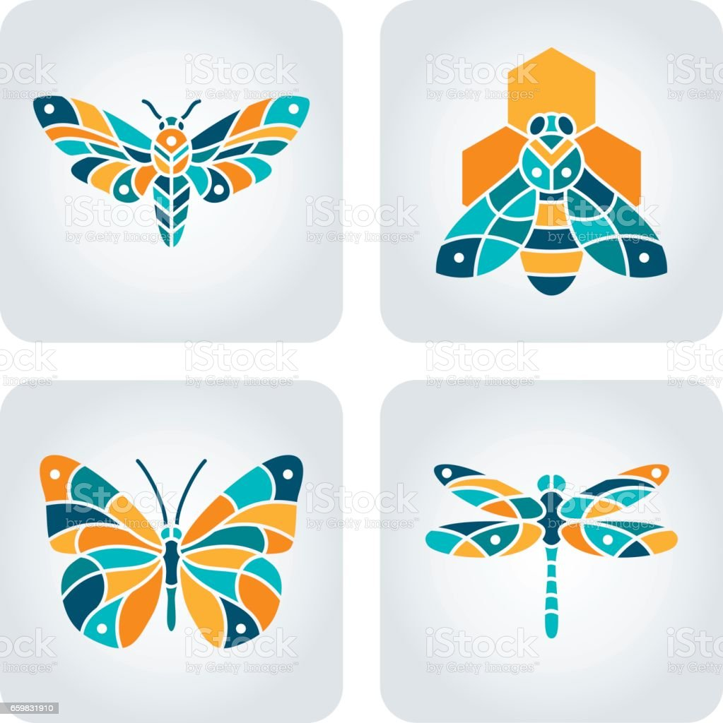 Set of 4 vector insects icons