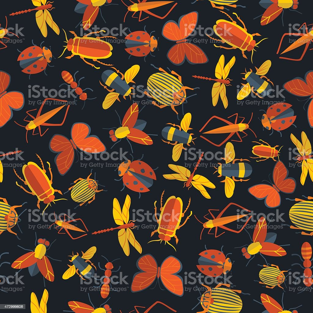 insects seamless pattern 1 vector art illustration
