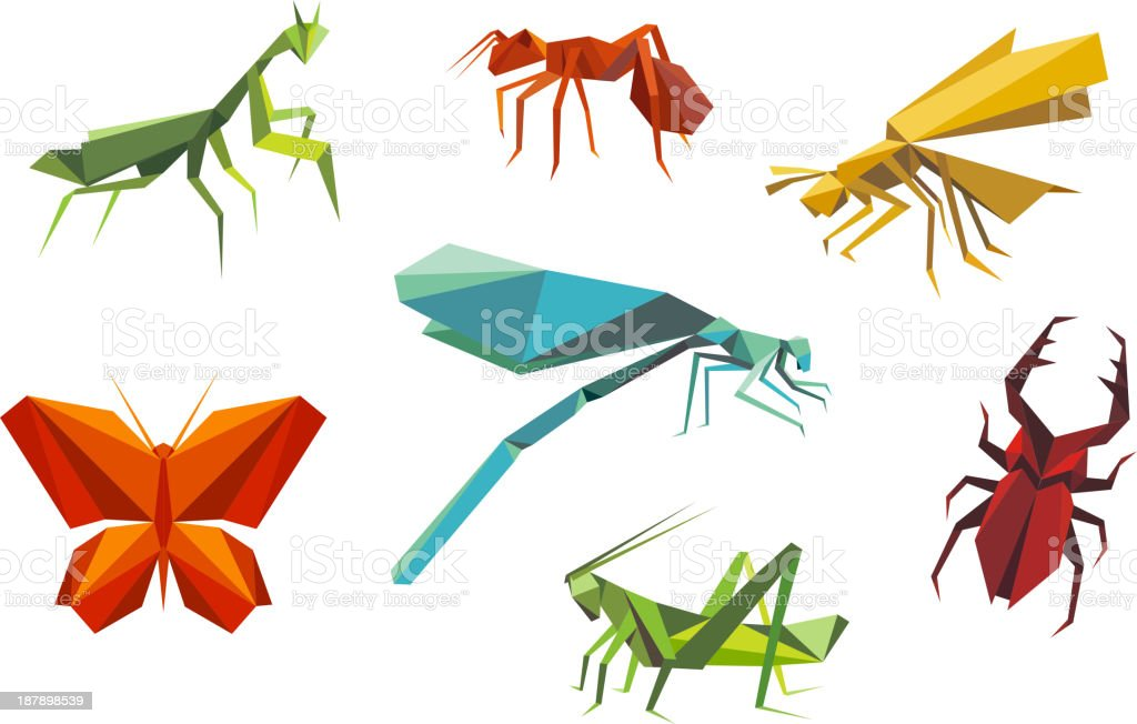 Insects set in origami style royalty-free stock vector art