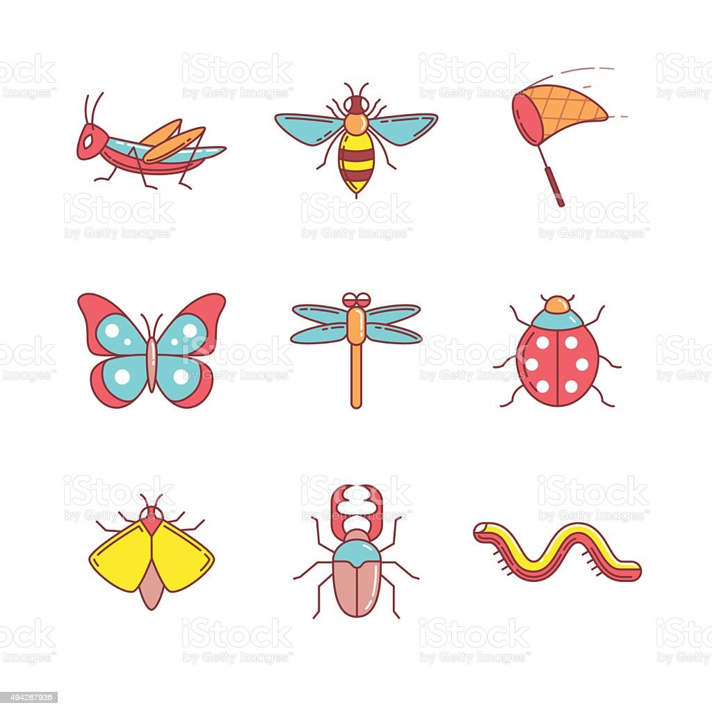 Insects thin line icons set vector art illustration