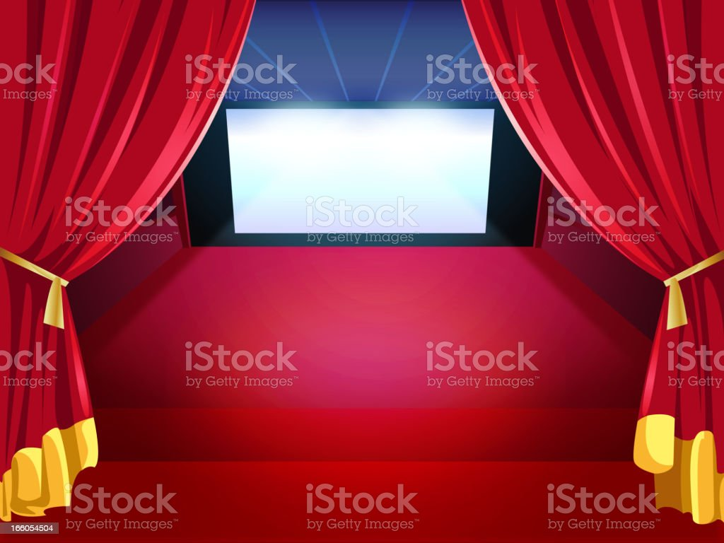 Inside a Movie Theater with Side Screen royalty-free stock vector art