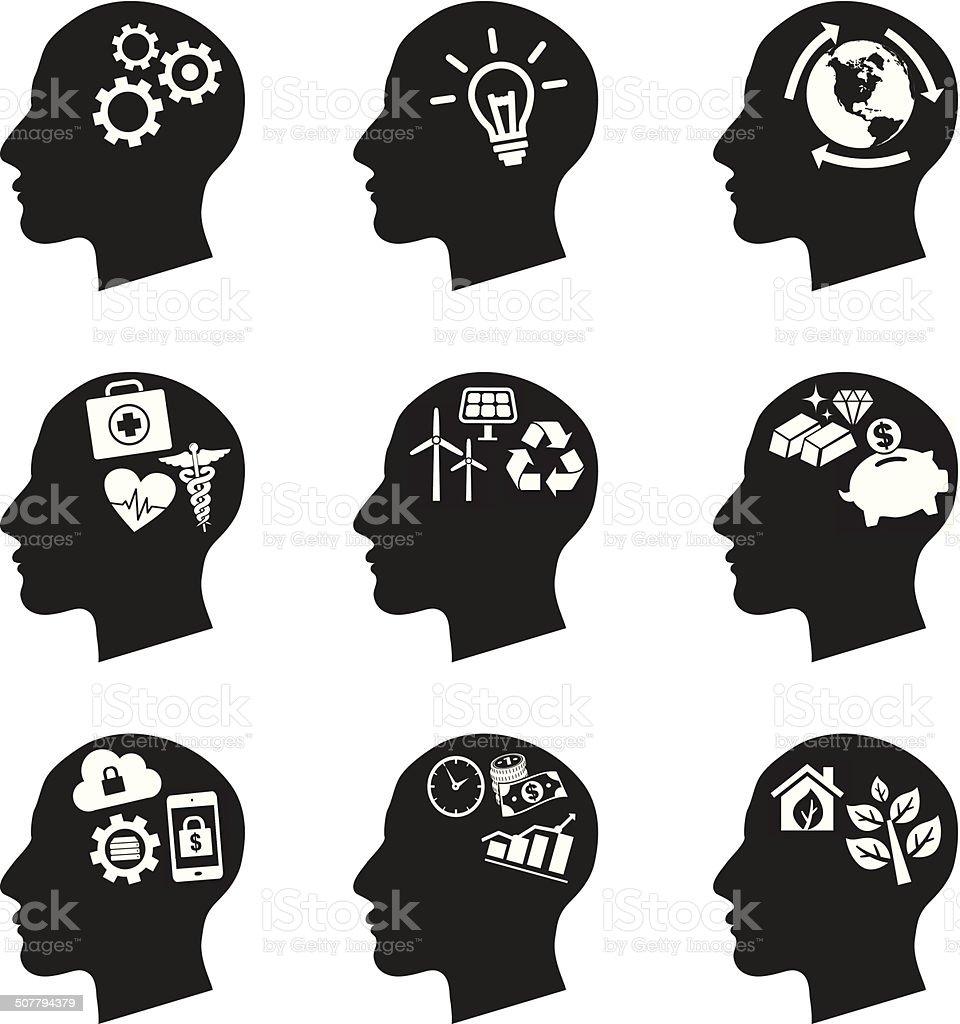 inside brain icons vector art illustration