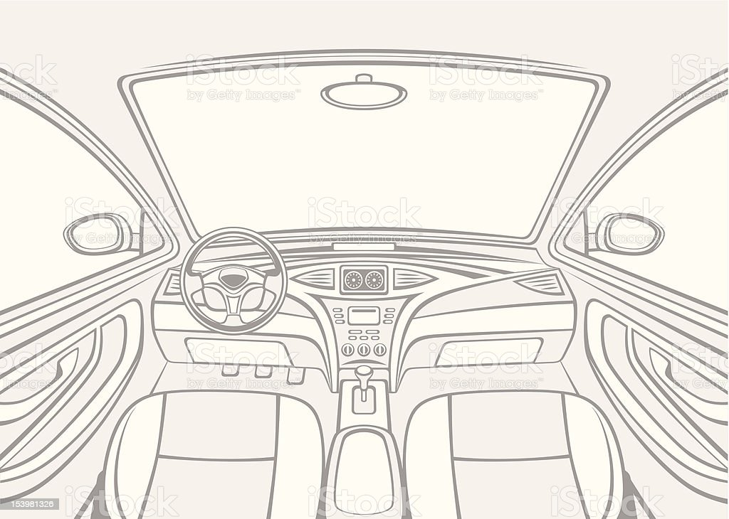 Inside car vector art illustration