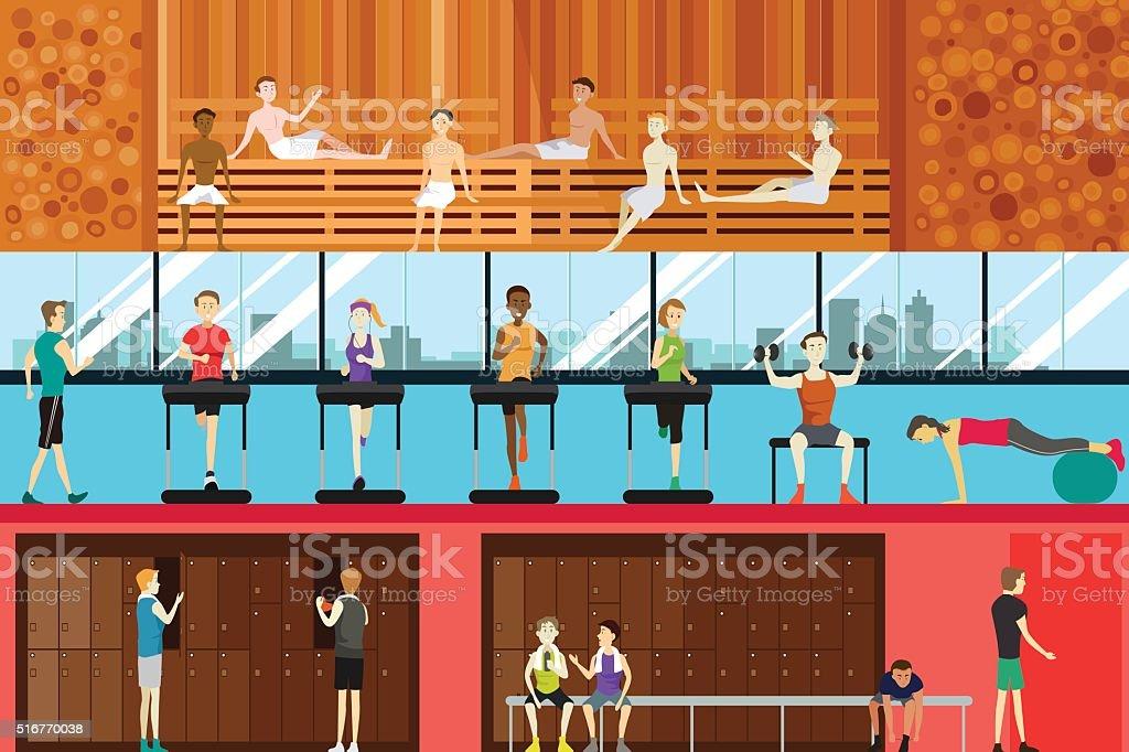 Inside Gym Scene vector art illustration
