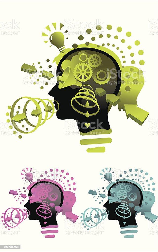 Inside Her Head vector art illustration