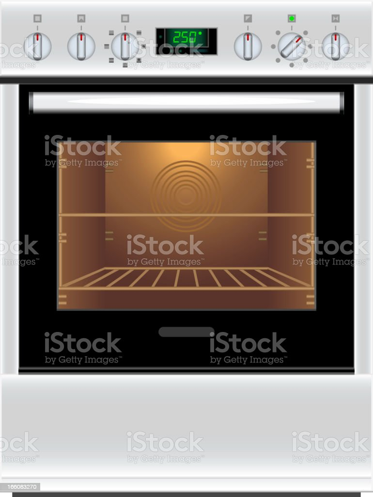 Inside of a clean electric stove vector art illustration