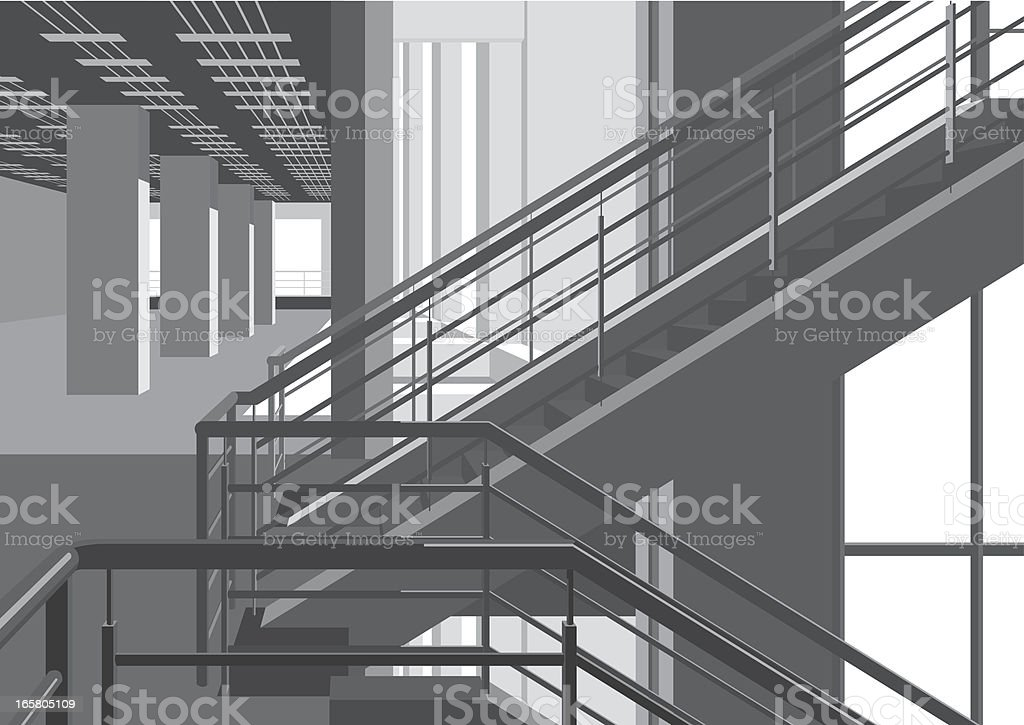 inside of modern building with stairs royalty-free stock vector art