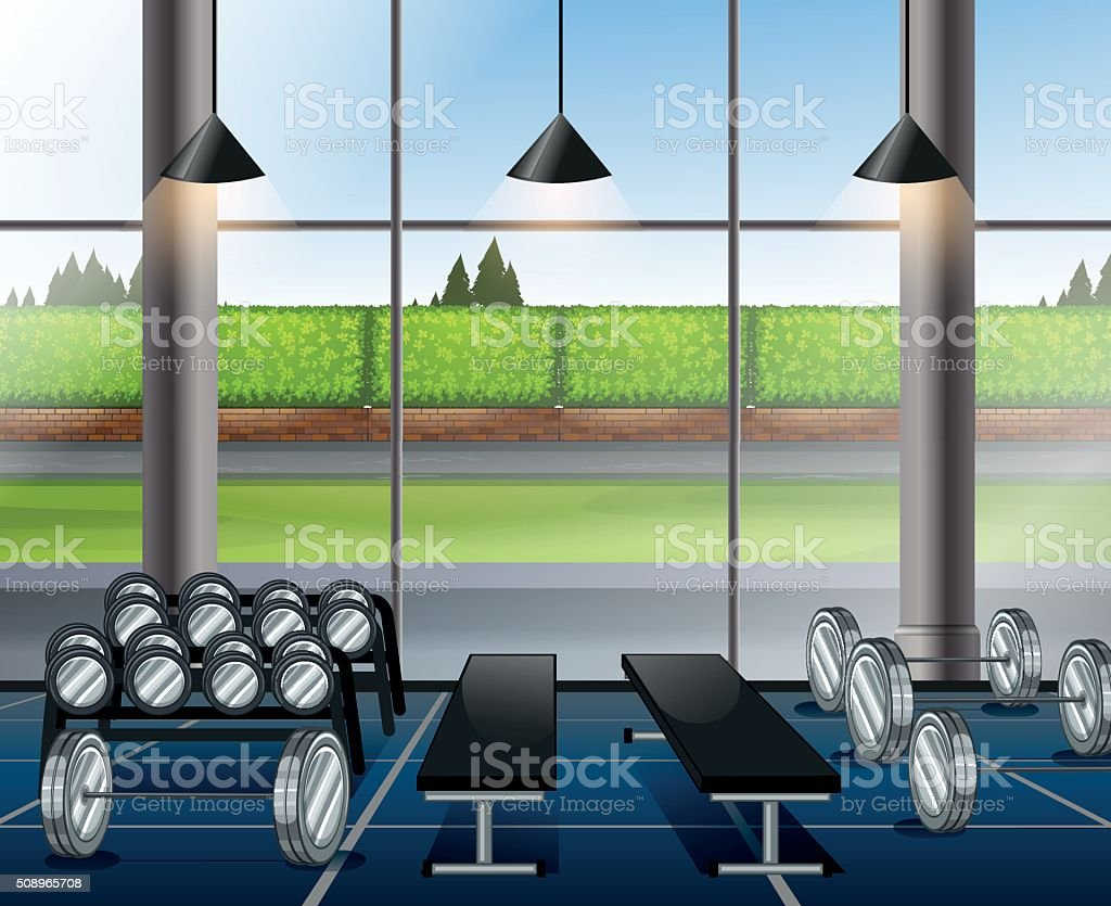 Inside weightlifting room with benches vector art illustration