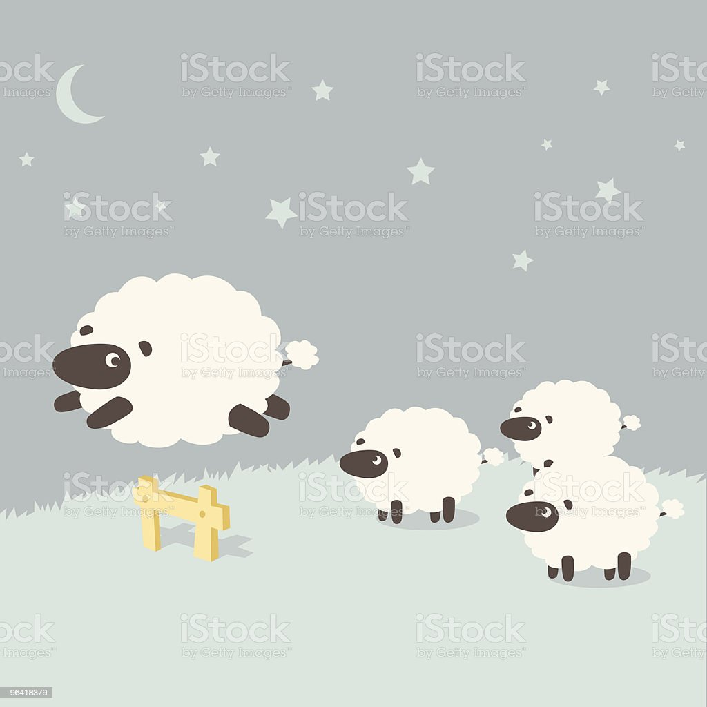 Insomnia: Sheeps leaping over the fence royalty-free stock vector art