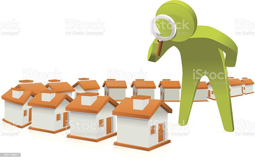 Inspecting houses vector art illustration