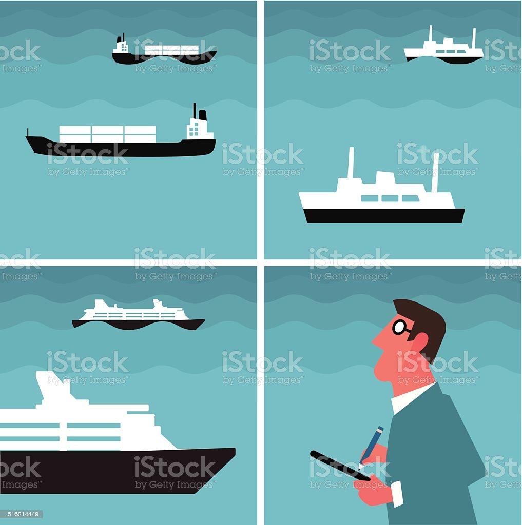 Inspecting traffic at sea vector art illustration
