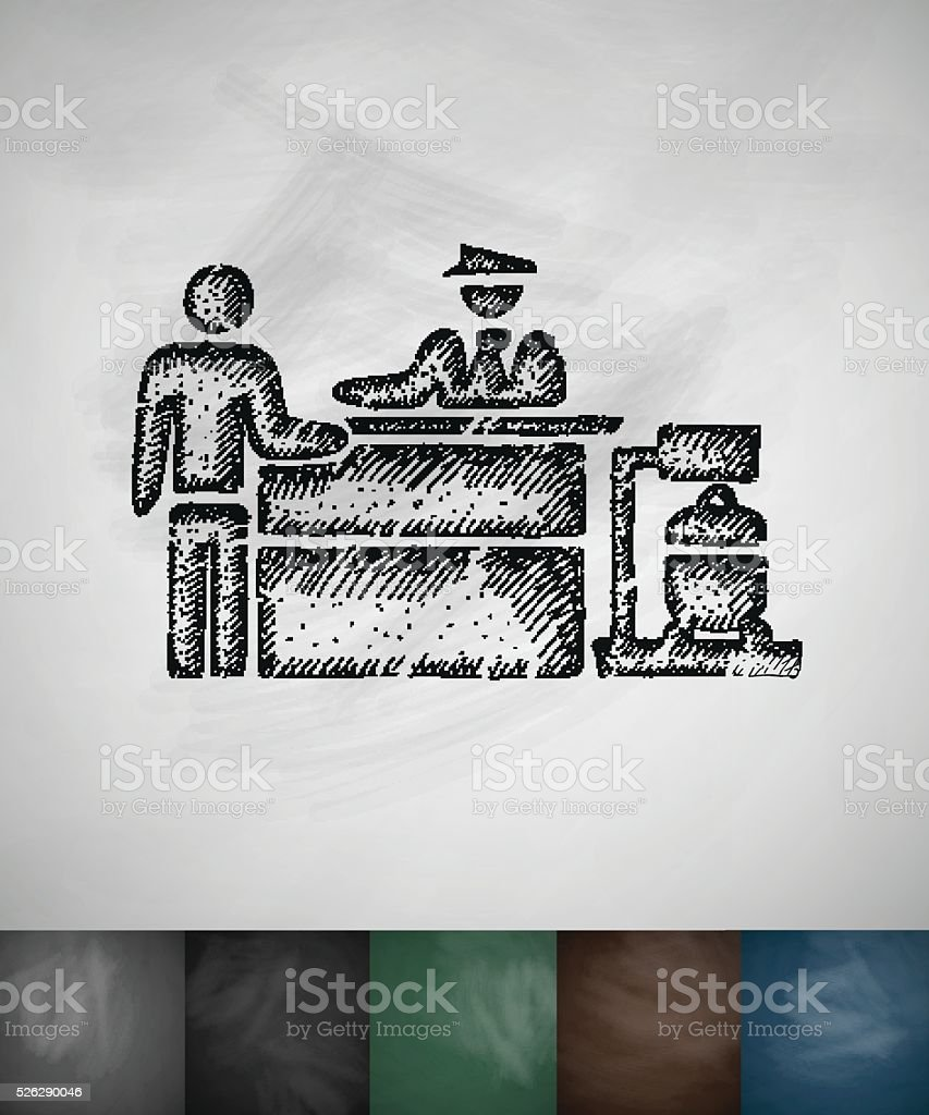 Inspection at the airport icon. Hand drawn vector illustration vector art illustration