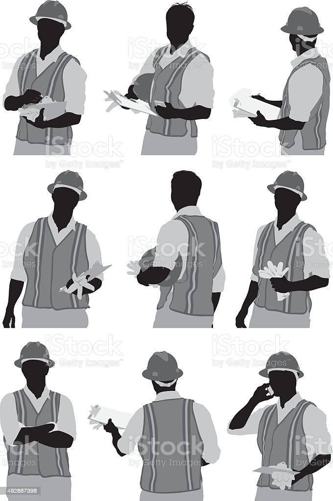 Inspector in various actions vector art illustration