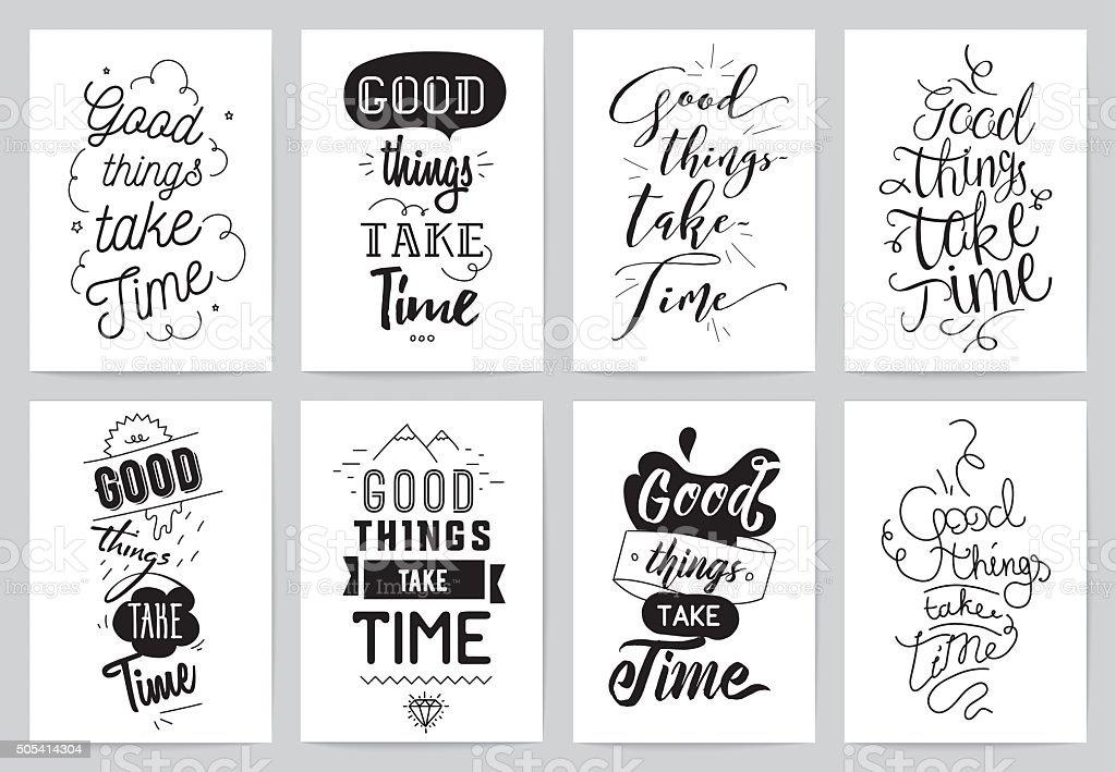 Inspirational cards 8 set. Typographical design. Lettering concept vector art illustration