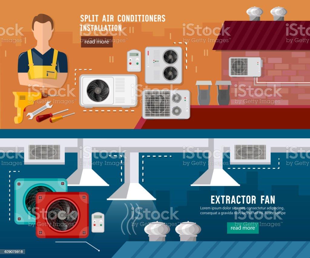 Installation of air conditioners, split system vector art illustration