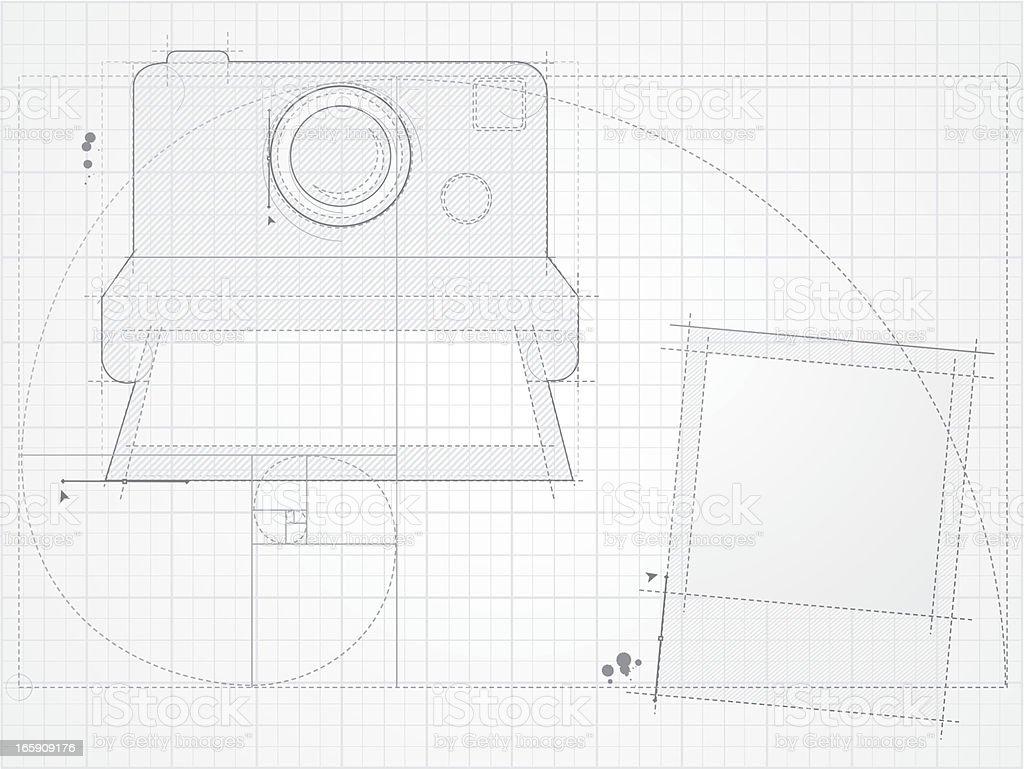 Instant camera design vector art illustration