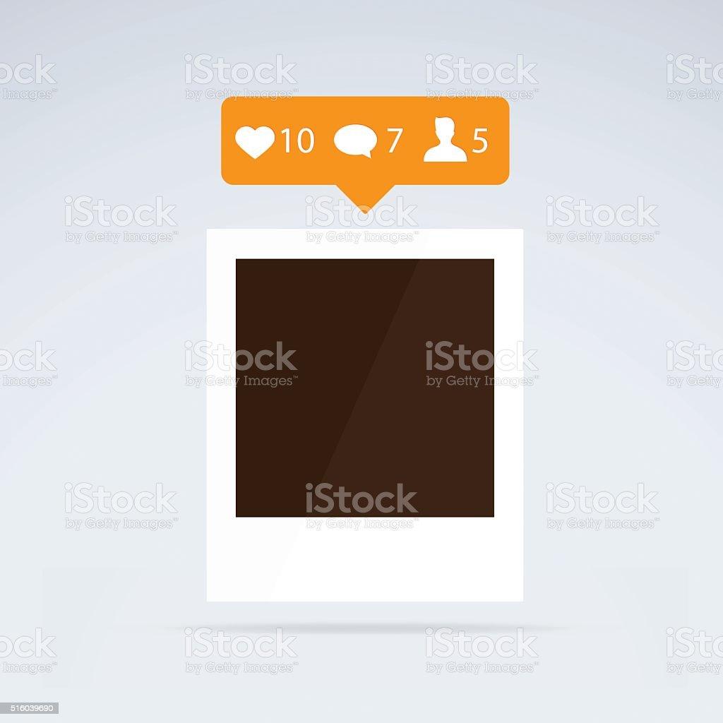Instant photo frame with orange like counter vector art illustration