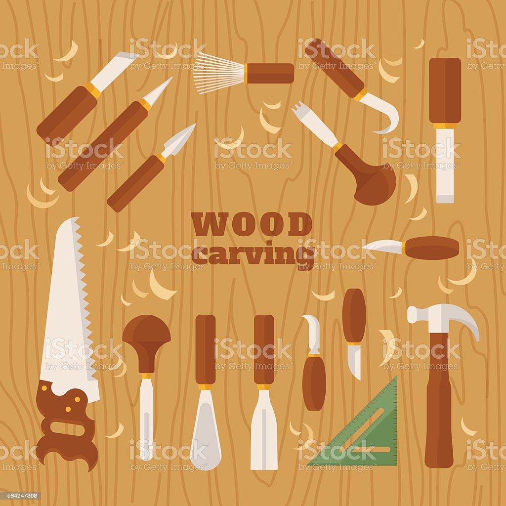 Instrument for carving vector art illustration