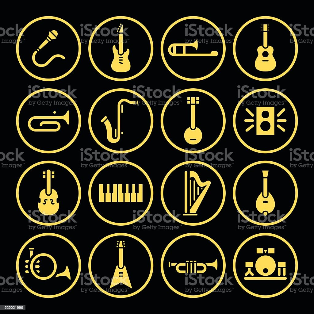 Instrument Icons vector art illustration