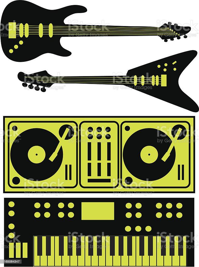 Instruments Music Guitars Keyboards Turntables vector art illustration