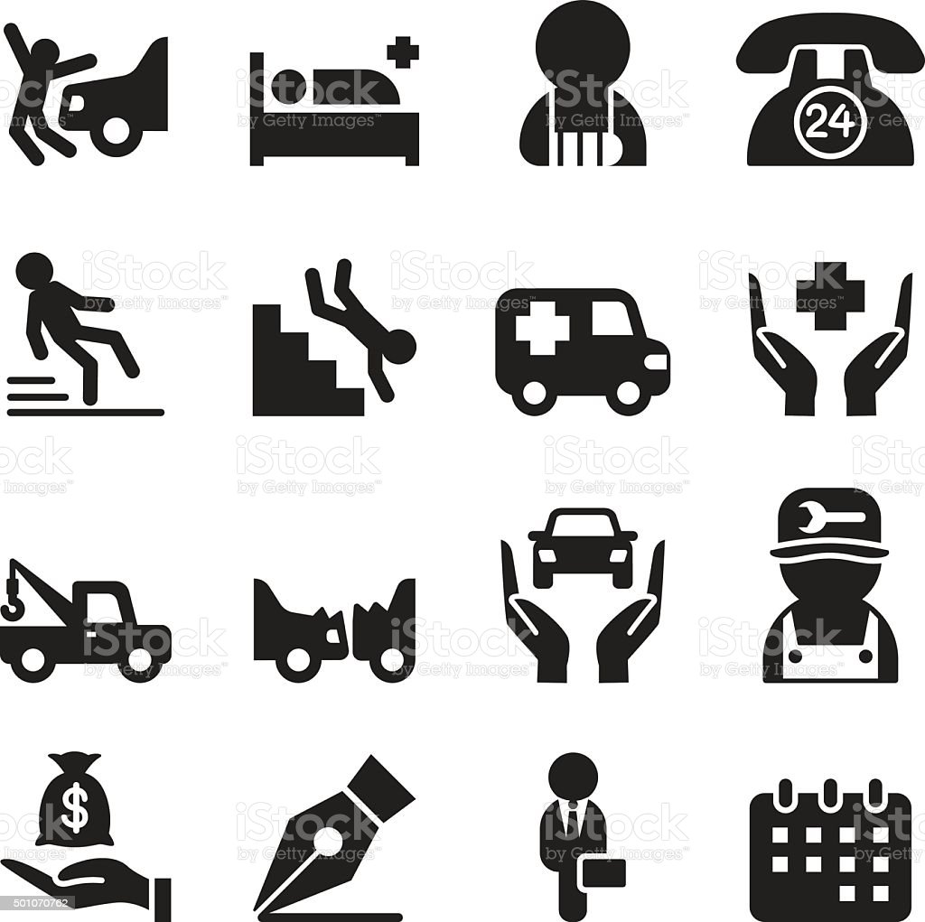 Insurance & accident  icons set vector art illustration