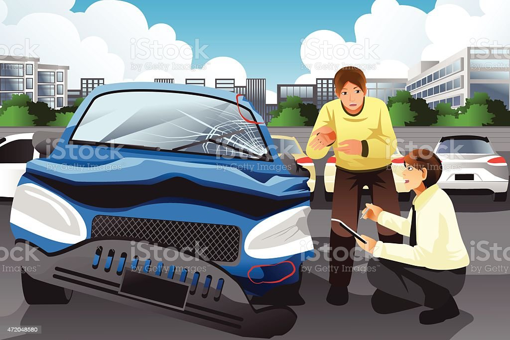 Insurance agent assessing a car accident vector art illustration
