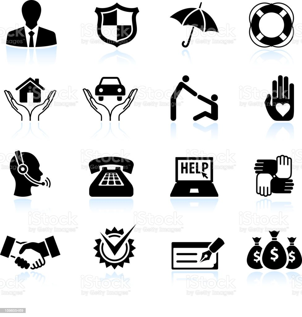 Insurance agent black and white royalty free vector icon set stock photo