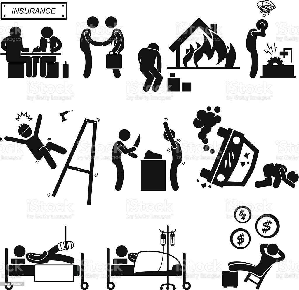 Insurance Agent Property Accident Robbery Medical Coverage Pictogram vector art illustration