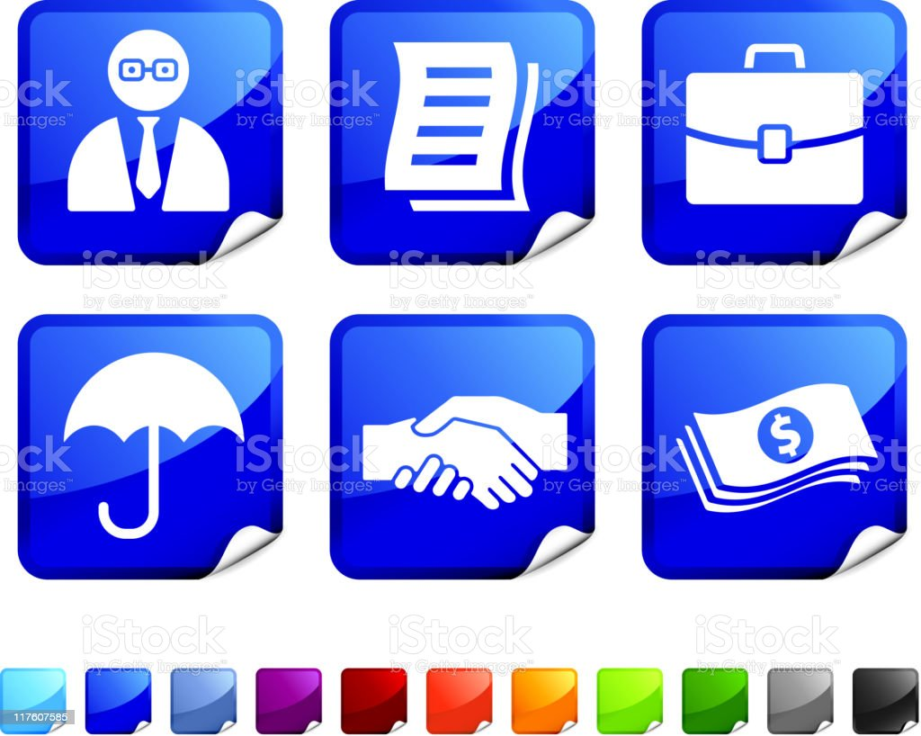 insurance agent royalty free vector icon set stickers royalty-free stock vector art