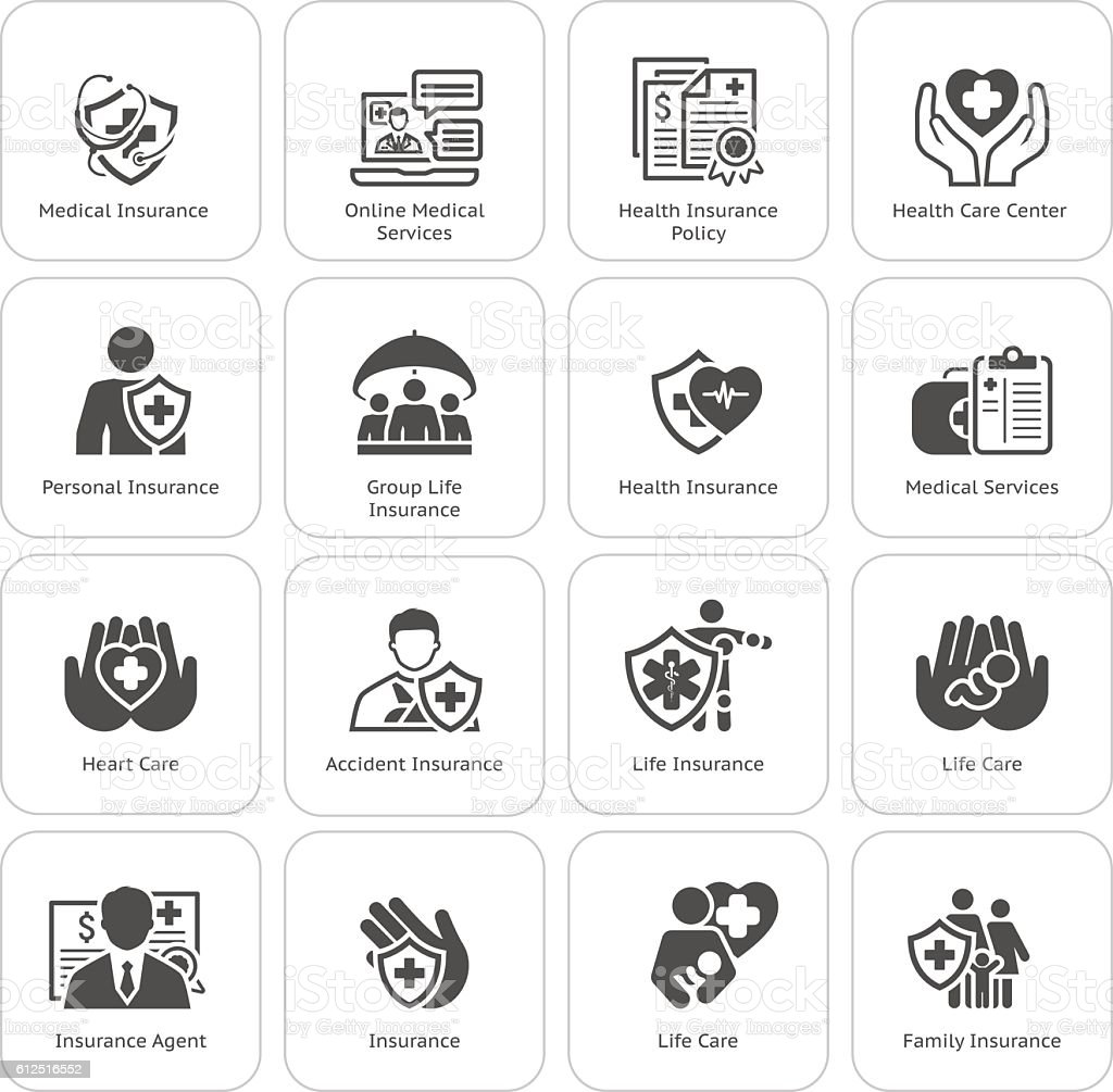 Insurance and Medical Services Icons Set. vector art illustration