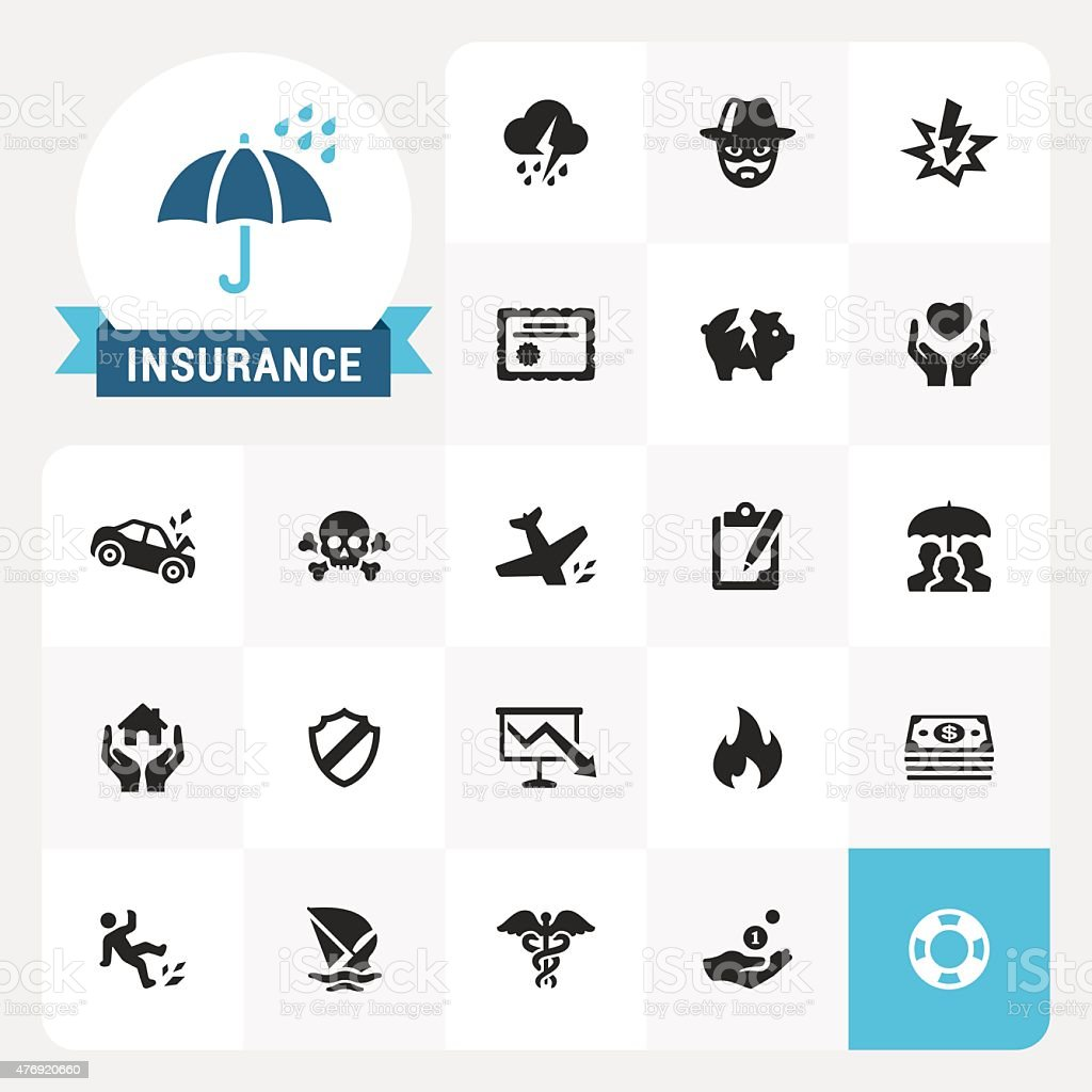Insurance base vector icons and label vector art illustration