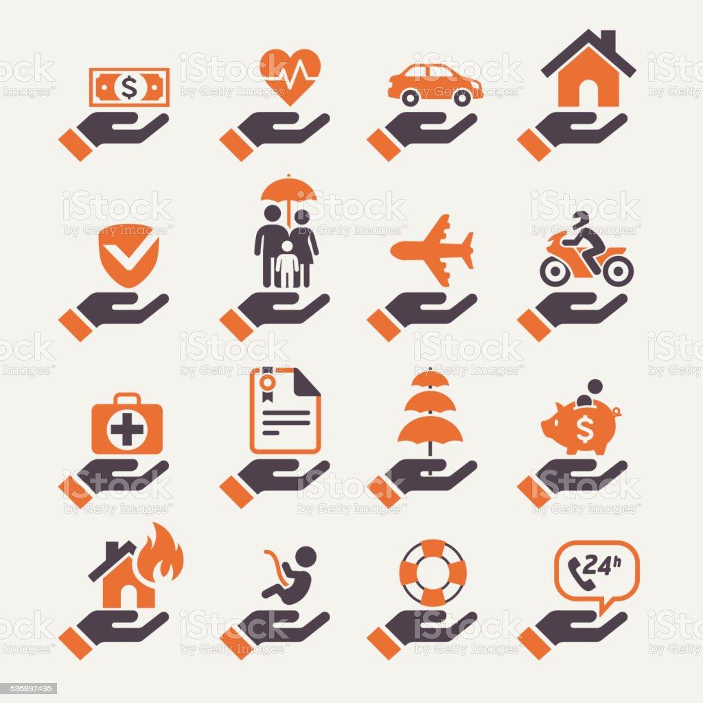 Insurance hand icons set. vector art illustration