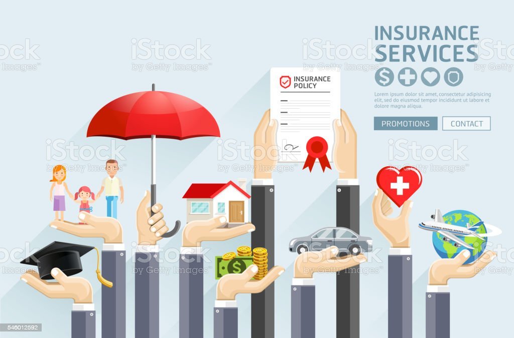 Insurance hands services. vector art illustration