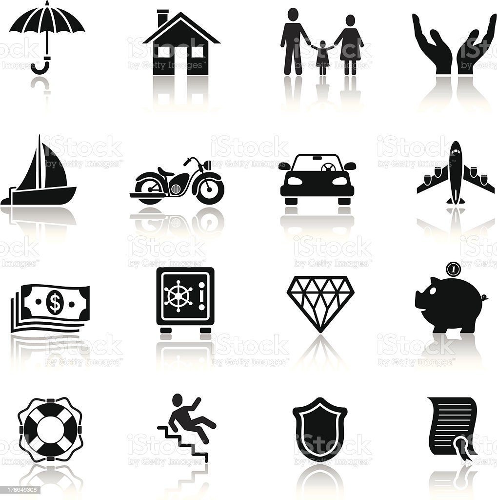 Insurance Icon Set vector art illustration