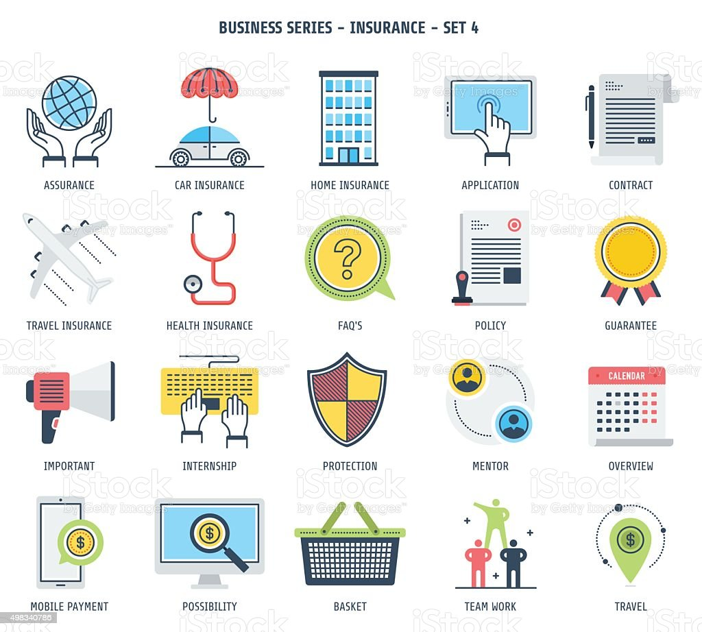 Insurance Icon Set vector art illustration