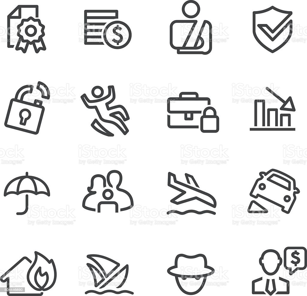 Insurance Icons - Line Series vector art illustration