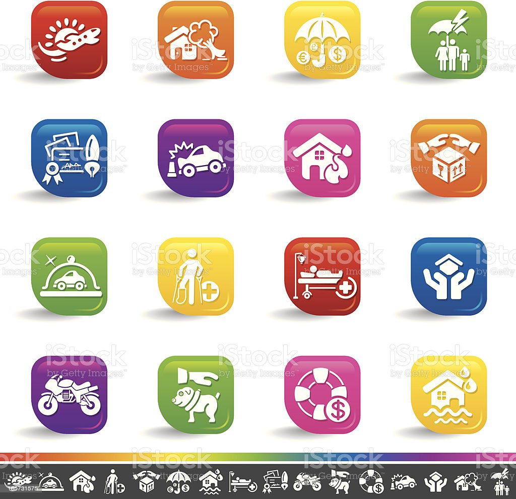 Insurance icons | Rainbow Series vector art illustration