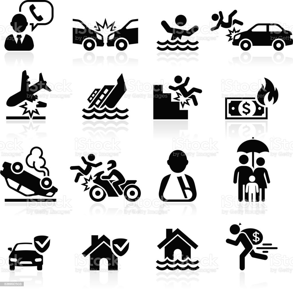 Insurance icons set. vector art illustration