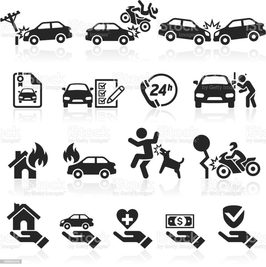 Insurance icons set. vector art illustration