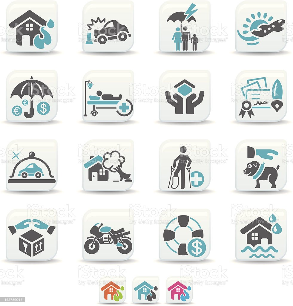 insurance icons | simicoso collection vector art illustration