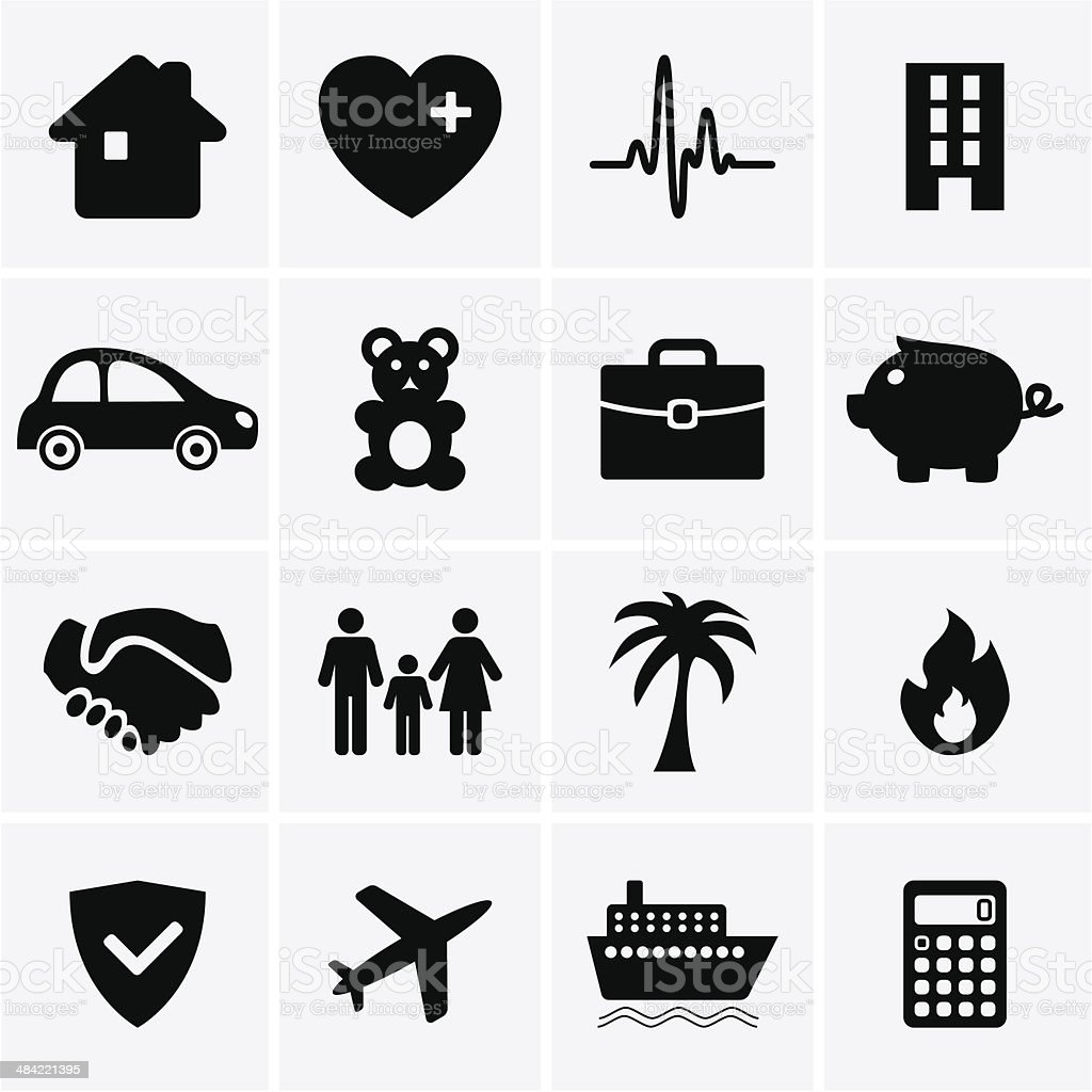 Insurance Icons vector art illustration