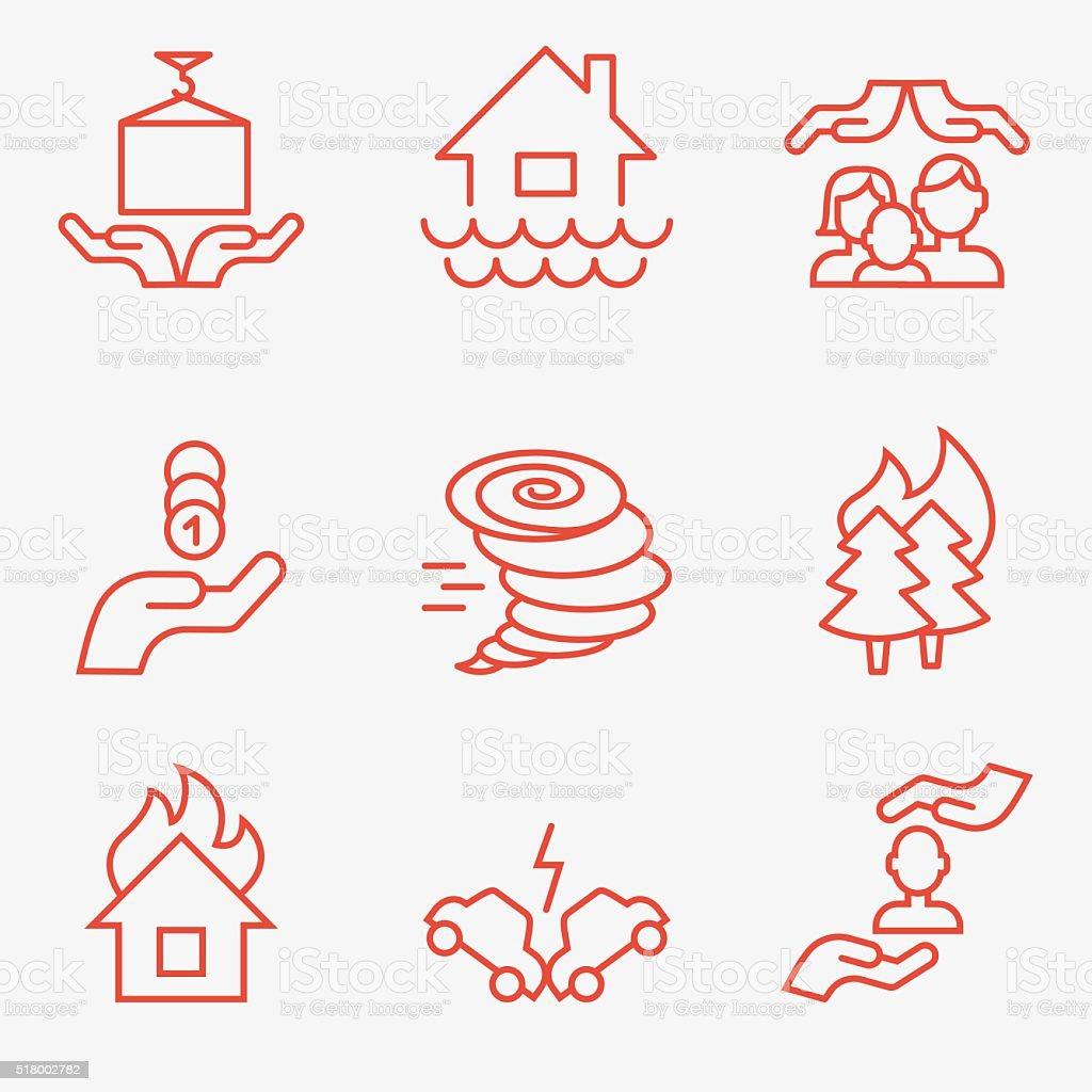 Insurance icons vector art illustration