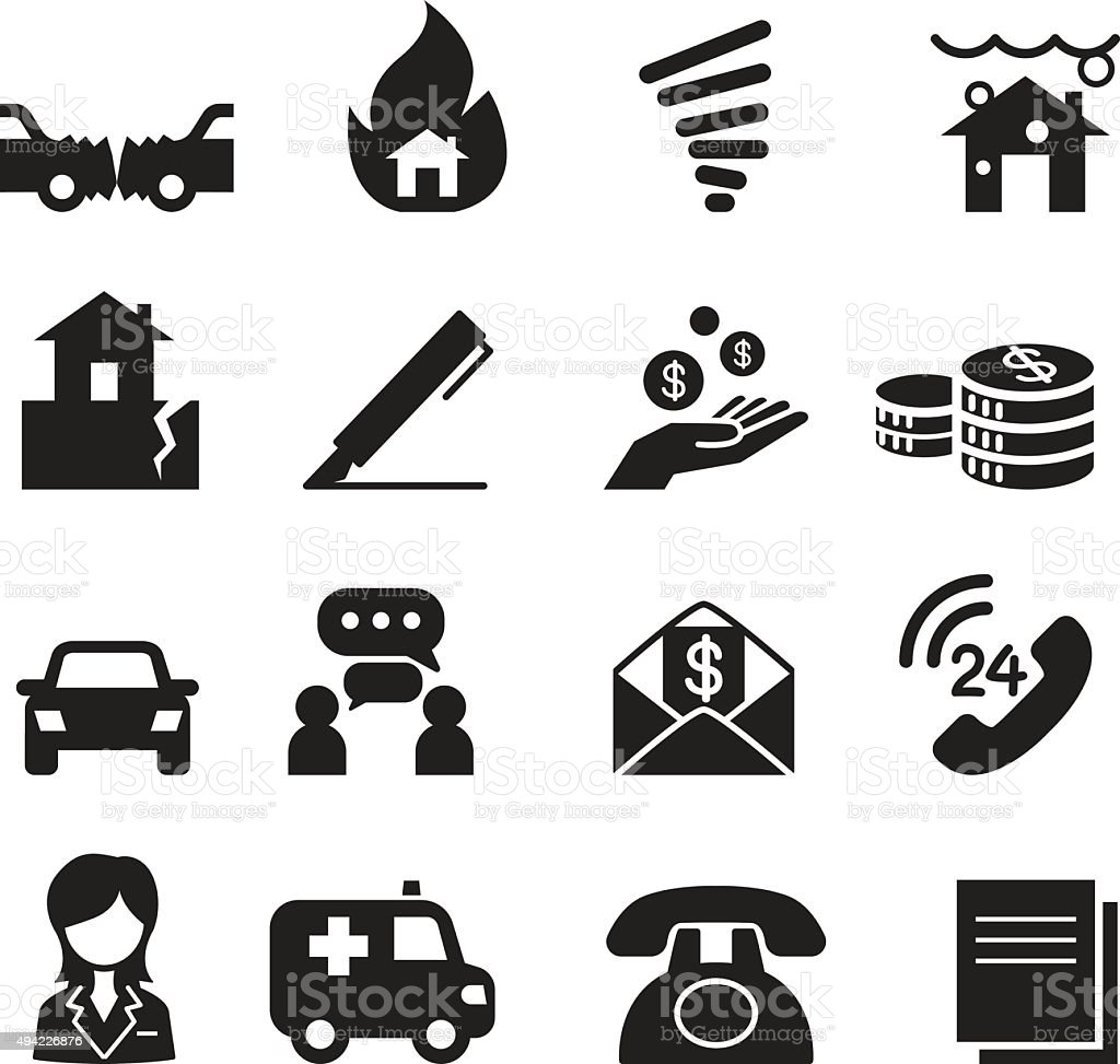 Insurance Icons Vector Illustration Symbol Set3 vector art illustration