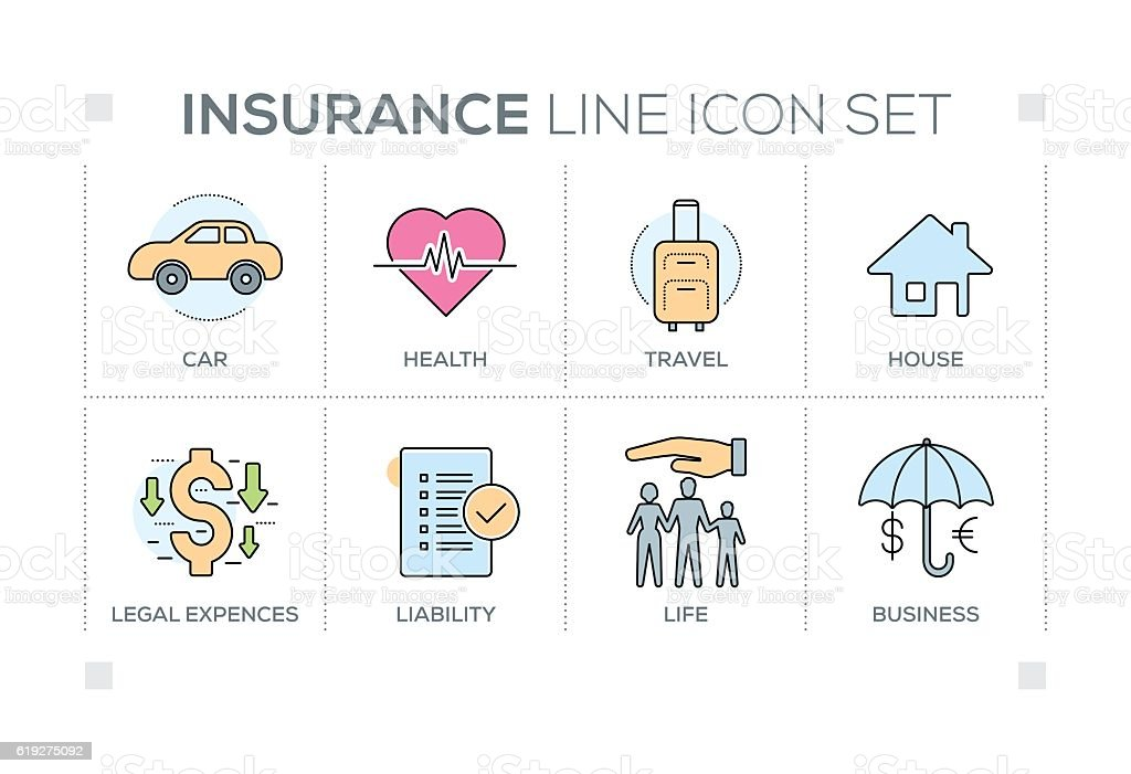 Insurance keywords with line icons vector art illustration