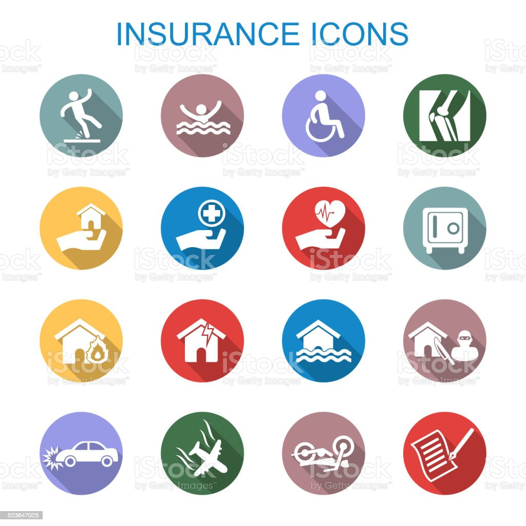 insurance long shadow icons vector art illustration
