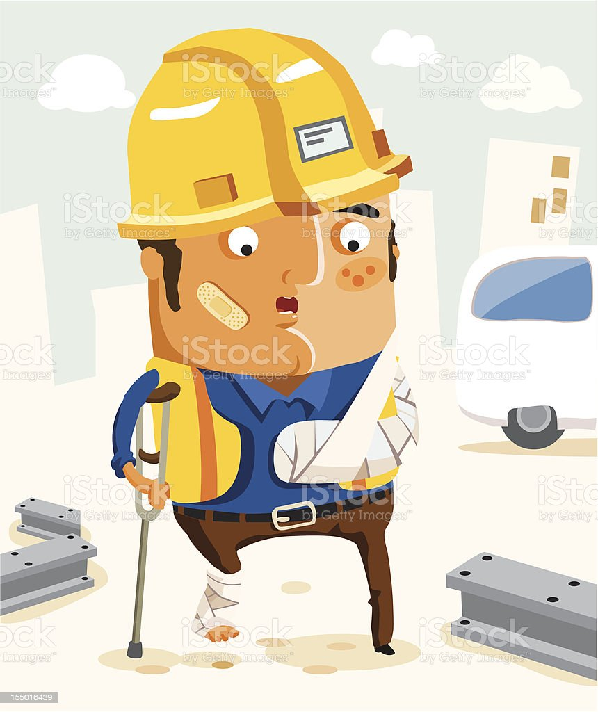 Insurance of Construction Workers for accident in work. royalty-free stock vector art