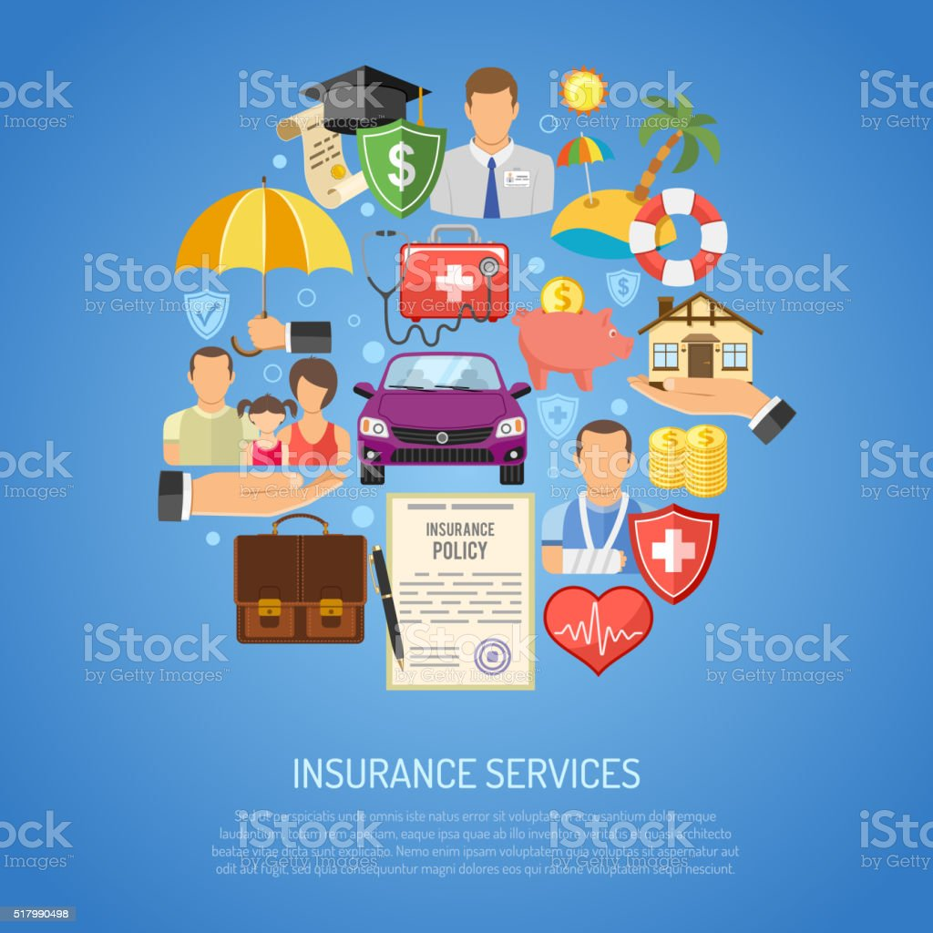 Insurance Services Concept vector art illustration
