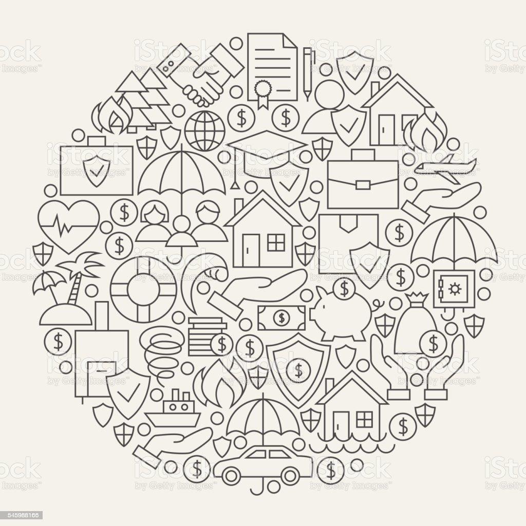 Insurance Services Line Icons Set Circle Shape vector art illustration