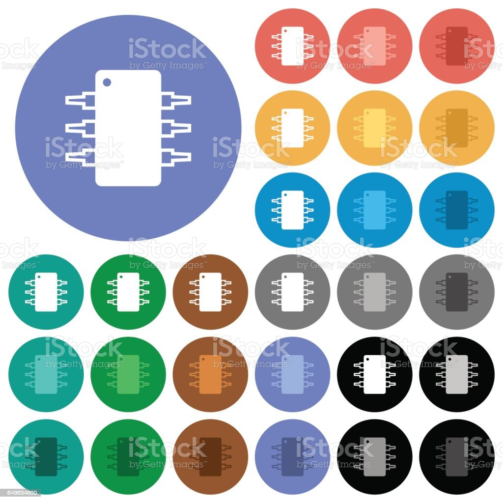 Integrated circuit round flat multi colored icons vector art illustration