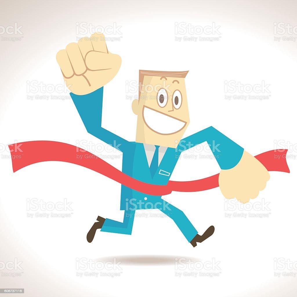 Intelligent businessman (leading) running and crossing the finish line vector art illustration